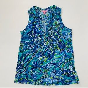 Lilly Pulitzer Sneak a Beak Essie Top Bennett Blue